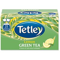 Tetley Green Tea with Lemon Tea Bags - Pack of 25