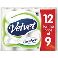 Velvet Toilet Rolls, White, 3-Ply, 210 Sheets per Roll, 1 Pack of 12 Rolls