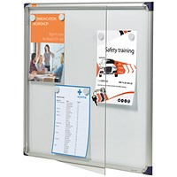 Nobo Extra-flat Noticeboard with Lockable Glazed Case / 6xA4 / W785xH812xD40mm