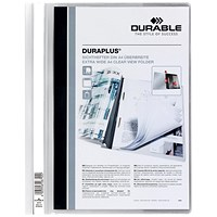 Durable A4 Duraplus Quotation Folders, White, Pack of 25
