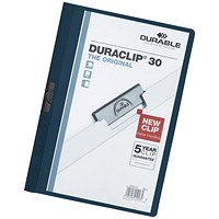 Durable A4 Duraclip Folders, 3mm Spine, Blue, Pack of 25