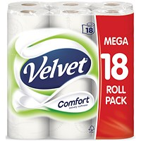 Velvet Toilet Rolls, White, 2-Ply, 210 Sheets per Roll, 1 Pack of 18 Rolls