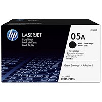 HP 05A Black LaserJet Toner Cartridge (Twinpack)