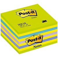 Post-it Note Cube, 76x76mm, Assorted Neon