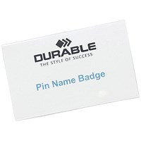 Durable Name Badges, Pin, 75x40mm, Pack of 100