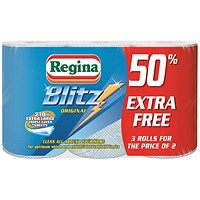 Regina Blitz Recycled Kitchen Towel, 3-Ply, 70 Sheets per Roll, White, Pack of 3