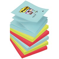 Post-it Super Sticky Z-Notes, 76x76mm, Miami, Pack of 6 x 90 Notes
