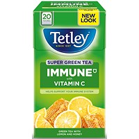 Tetley Super Green Tea Lemon & Honey - Pack of 20