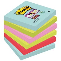 Post-It Super Sticky Notes, 76x76mm, Aqua Assorted, Pack of 6 x 90 Notes