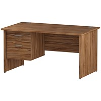 Trexus 1400mm Rectangular Desk, Panel Legs, 2 Drawer Pedestal, Walnut
