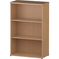 Trexus Medium Bookcase, 2 Shelves, 1200mm High, Oak