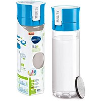 Brita Fill & Go Vital Filtering Water Bottle, Pull-out Mouthpiece, Flip-top Lid, 600ml, Blue