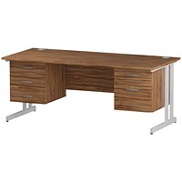 Trexus 1800mm Rectangular Desk, White Legs, 2 Pedestals, Walnut