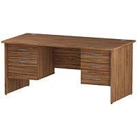 Trexus 1600mm Rectangular Desk, Panel Legs, 2 Pedestals, Walnut