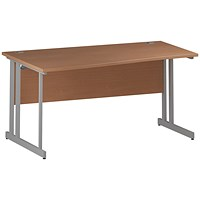 Trexus 1600mm Wave Desk, Left Hand, Silver Legs, Beech