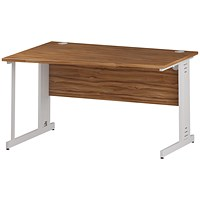 Trexus 1400mm Wave Desk, Left Hand, Cable Managed White Legs, Walnut