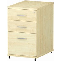 Trexus 3 Drawer Fixed Pedestal / Desk-High / 600mm Deep / Maple