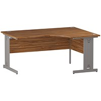 Trexus 1600mm Corner Desk, Right Hand, Cable Managed Silver Legs, Walnut