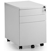 Trexus Under-Desk 3 Drawer Steel Mobile Pedestal, White