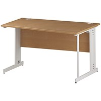 Trexus 1400mm Wave Desk, Right Hand, Cable Managed White Legs, Oak