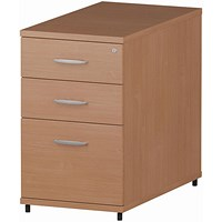 Trexus 3 Drawer Fixed Pedestal / Desk-High / 800mm Deep / Beech
