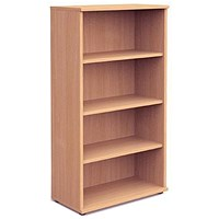 Trexus Medium Tall Bookcase, 3 Shelves, 1600mm High, Beech