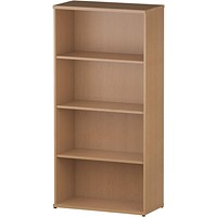 Trexus Medium Tall Bookcase, 3 Shelves, 1600mm High, Oak