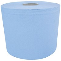 Maxima Centrefeed Rolls, 3-Ply, Blue, Pack of 6