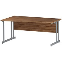 Trexus 1600mm Wave Desk, Left Hand, Silver Legs, Walnut