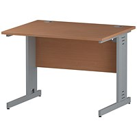 Trexus 1000mm Rectangular Desk, Cable Managed Silver Legs, Beech