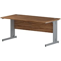 Trexus 1600mm Rectangular Desk, Cable Managed Silver Legs, Walnut