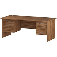 Trexus 1800mm Rectangular Desk, Panel Legs, 2 Pedestals, Walnut