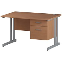 Trexus 1200mm Rectangular Desk, Silver Legs, 2 Drawer Pedestal, Beech