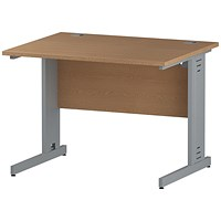 Trexus 1000mm Rectangular Desk, Cable Managed Silver Legs, Oak
