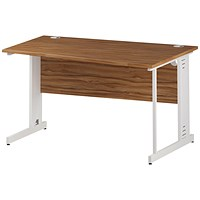 Trexus 1400mm Wave Desk, Right Hand, Cable Managed White Legs, Walnut