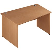 Trexus 1400mm Wave Desk, Left Hand, Panel Legs, Beech