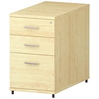 Trexus 3 Drawer Fixed Pedestal / Desk-High / 800mm Deep / Maple