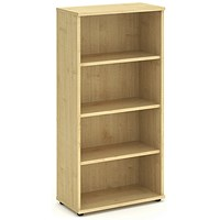 Trexus Medium Tall Bookcase, 3 Shelves, 1600mm High, Maple