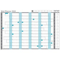 Sasco 2020 Wall Planner, Mounted, 915x610mm