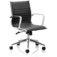 Sonix Ritz Leather Executive Medium Back Chair, Black