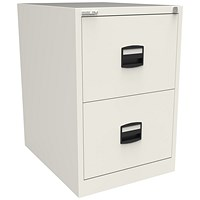 Trexus Foolscap Filing Cabinet, 2-Drawer, Chalk White
