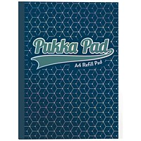Pukka Pad Glee Sidebound Refill Pad, A4, Feint Ruled with Margin, Punched, 400 Pages, Dark Blue, Pack of 5
