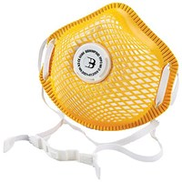 B-Brand P3 Vented Mesh Cup Mask, Soft Foam Nose Seal, Yellow, Pack of 5