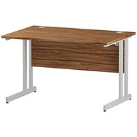 Trexus 1200mm Rectangular Desk, White Legs, Walnut