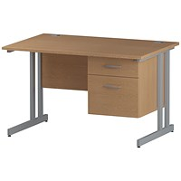 Trexus 1200mm Rectangular Desk, Silver Legs, 2 Drawer Pedestal, Oak