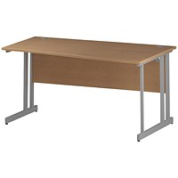Trexus 1600mm Wave Desk, Right Hand, Silver Legs, Oak