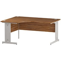 Trexus 1600mm Corner Desk, Left Hand, Cable Managed White Legs, Walnut