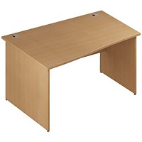 Trexus 1400mm Wave Desk, Left Hand, Panel Legs, Oak