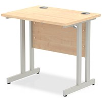 Trexus 800mm Slim Rectangular Desk, Silver Legs, Maple