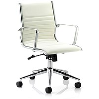 Sonix Ritz Leather Executive Medium Back Chair, Ivory